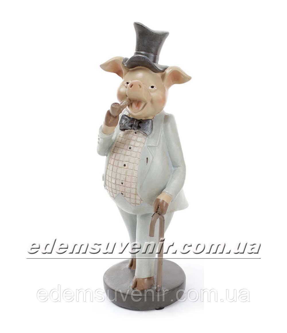 Статуэтка декоративная Свин с трубкой в бирюзовом фраке