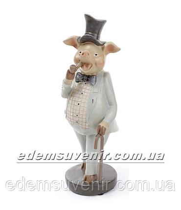 Статуэтка декоративная Свин с трубкой в бирюзовом фраке, фото 2