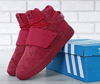 """Кроссовки женские замшевые высокие Adidas Tubular Invader Strap Red """"Красные"""" р. 36-40, фото 1"""
