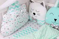 Комплект в дитяче ліжечко з тваринками сіро-м'ятних тонах Мирамель, фото 5