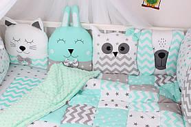 Комплект в дитяче ліжечко з тваринками сіро-м'ятних тонах Мирамель