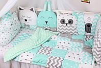 Комплект в дитяче ліжечко з тваринками сіро-м'ятних тонах Мирамель, фото 2