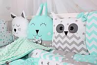 Комплект в дитяче ліжечко з тваринками сіро-м'ятних тонах Мирамель, фото 3