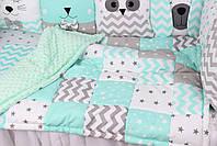 Комплект в дитяче ліжечко з тваринками сіро-м'ятних тонах Мирамель, фото 4