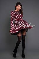 Платье с сердечками бордовый