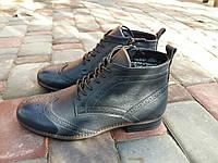 Ботинки мужские классические кожаные зимние синие