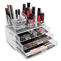 Настольный акриловый органайзер для косметики Cosmetic Storage Box на 4 ящика