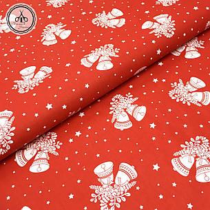 """Польская хлопковая ткань """"новогодние колокольчики и звездочки на красном"""", фото 2"""