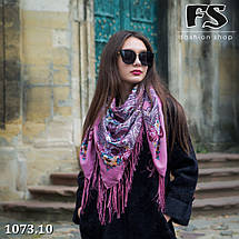 Розовый  павлопосадский платок Царский, фото 3
