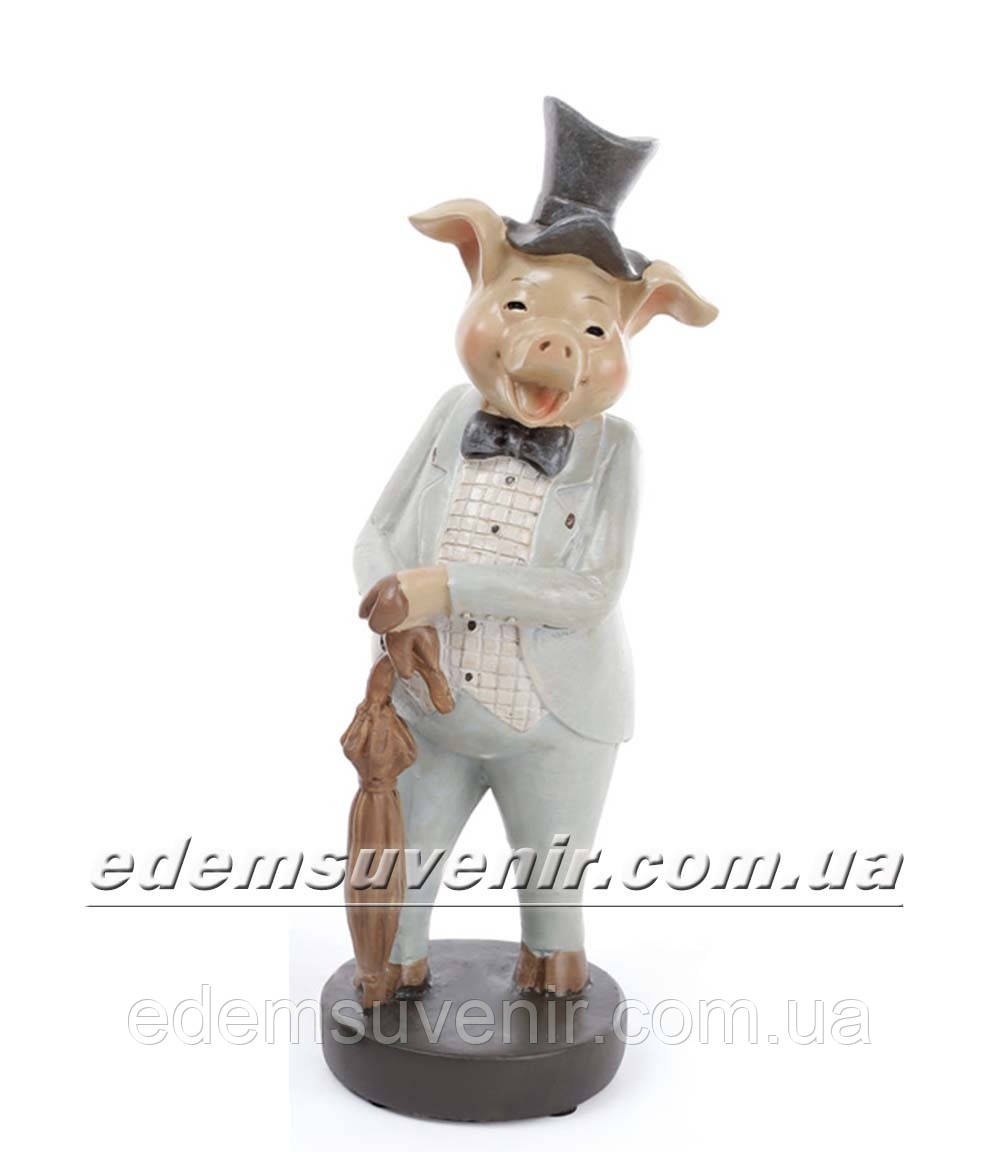 Статуэтка декоративная Свин во фраке бирюзовом