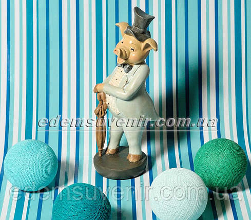 Статуэтка декоративная Свин во фраке бирюзовом , фото 2