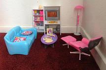 Меблі для Барбі Gloria 2014 Вітальня для ляльок. Яскравий якісний пластик, фото 3