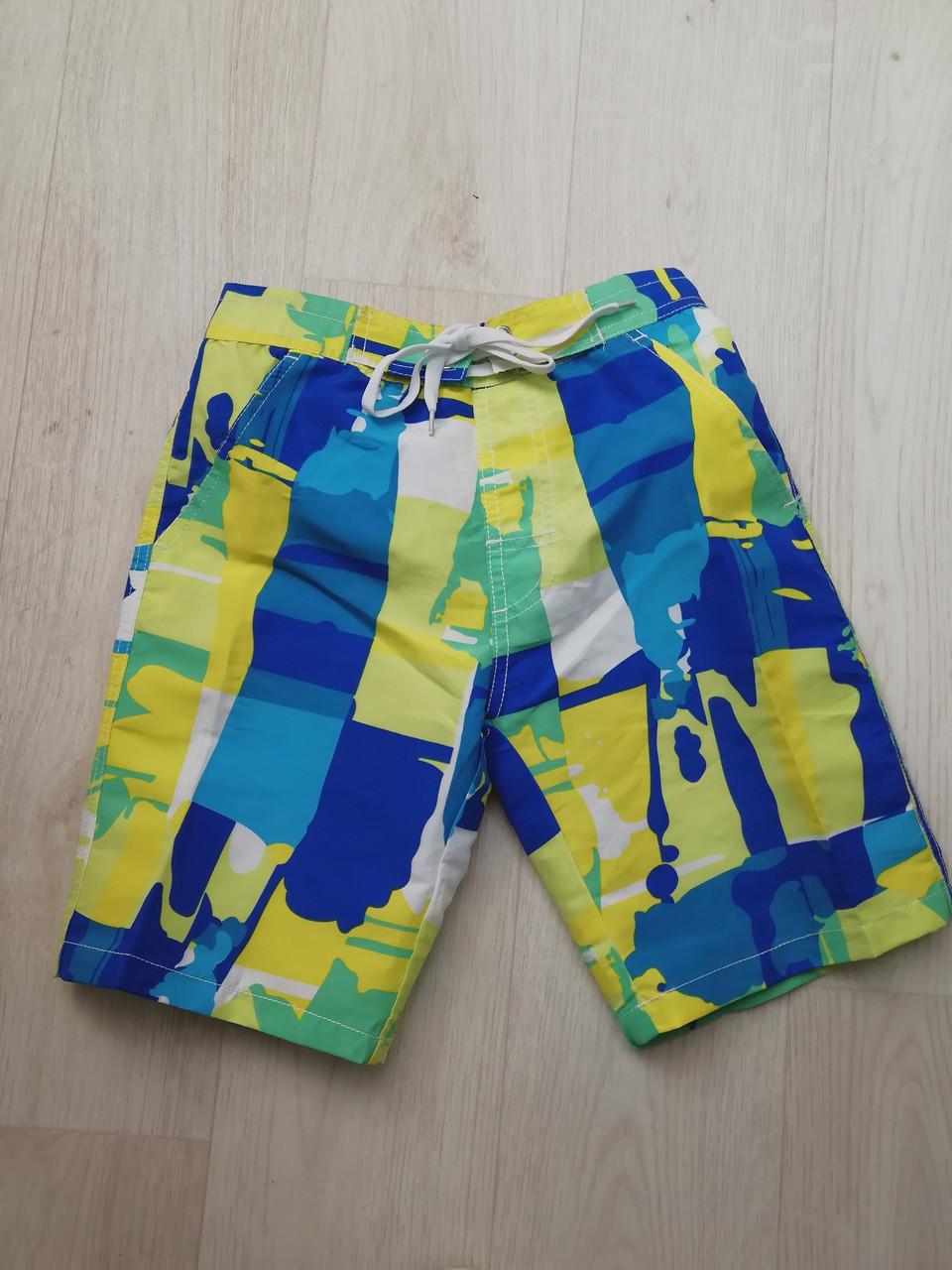 Шорты пляжные детские сине-зелёные- 157-01-1