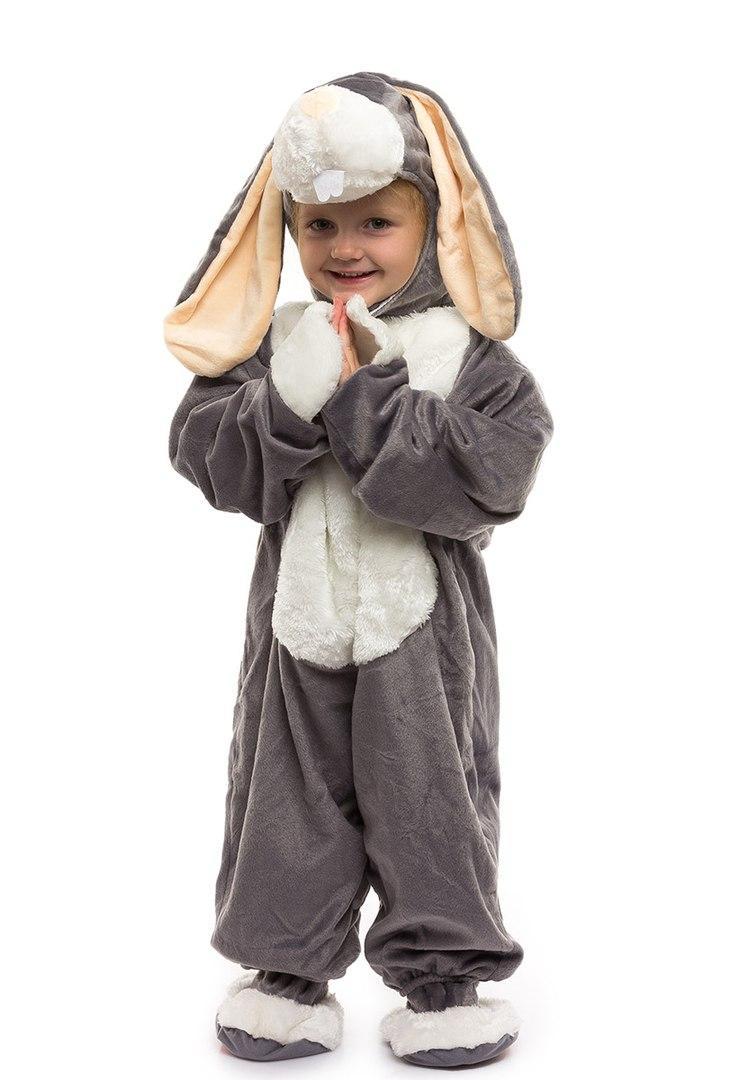 Детский красивый костюм серого зайчика (комбинезон, шапочка, тапочки ) искусственный мех