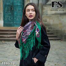 Павлопосадский зелёный  платок Осеннее танго, фото 3