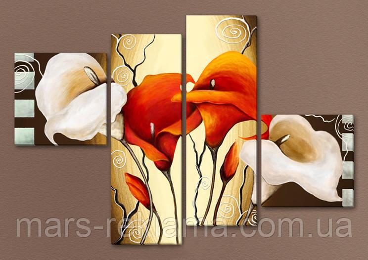 Модульна картина «Червоні і білі квіти», кали