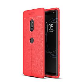 Чехол накладка для Sony Xperia XZ3 силиконовый, Фактура кожи, красный