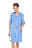 Велюровый халат для беременных и кормящих мам, голубой, фото 1