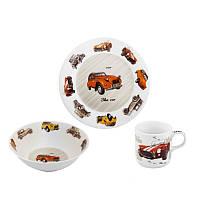 Набор детской посуды LIMITED EDITION Retro Car 3 предмета (суповая тарелка+ обедняя тарелка +кружка) С336