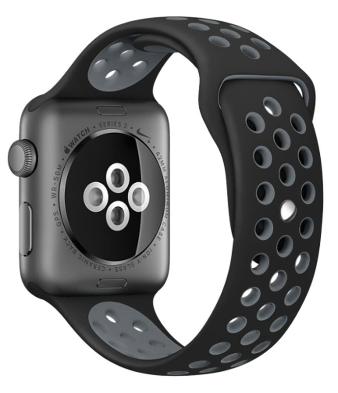 Ремінець для Apple iWatch 38mm Nike brand з перфорацією Чорний/сірий