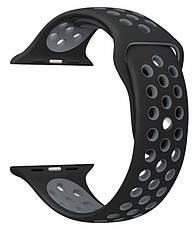 Ремінець для Apple iWatch 38mm Nike brand з перфорацією Чорний/сірий, фото 3