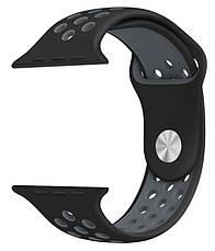 Ремінець для Apple iWatch 38mm Nike brand з перфорацією Чорний/сірий, фото 2