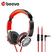 Наушники проводные накладные с микрофоном BEEVO 780 Черный / Красный