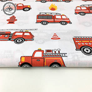 """Польская хлопковая ткань """"пожарные машинки """", фото 2"""