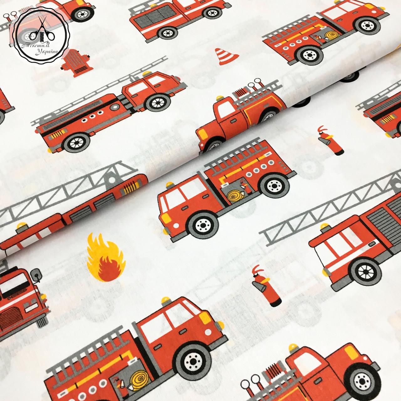"""Польская хлопковая ткань """"пожарные машинки """""""