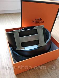 Ремень Hermes кожаный черный