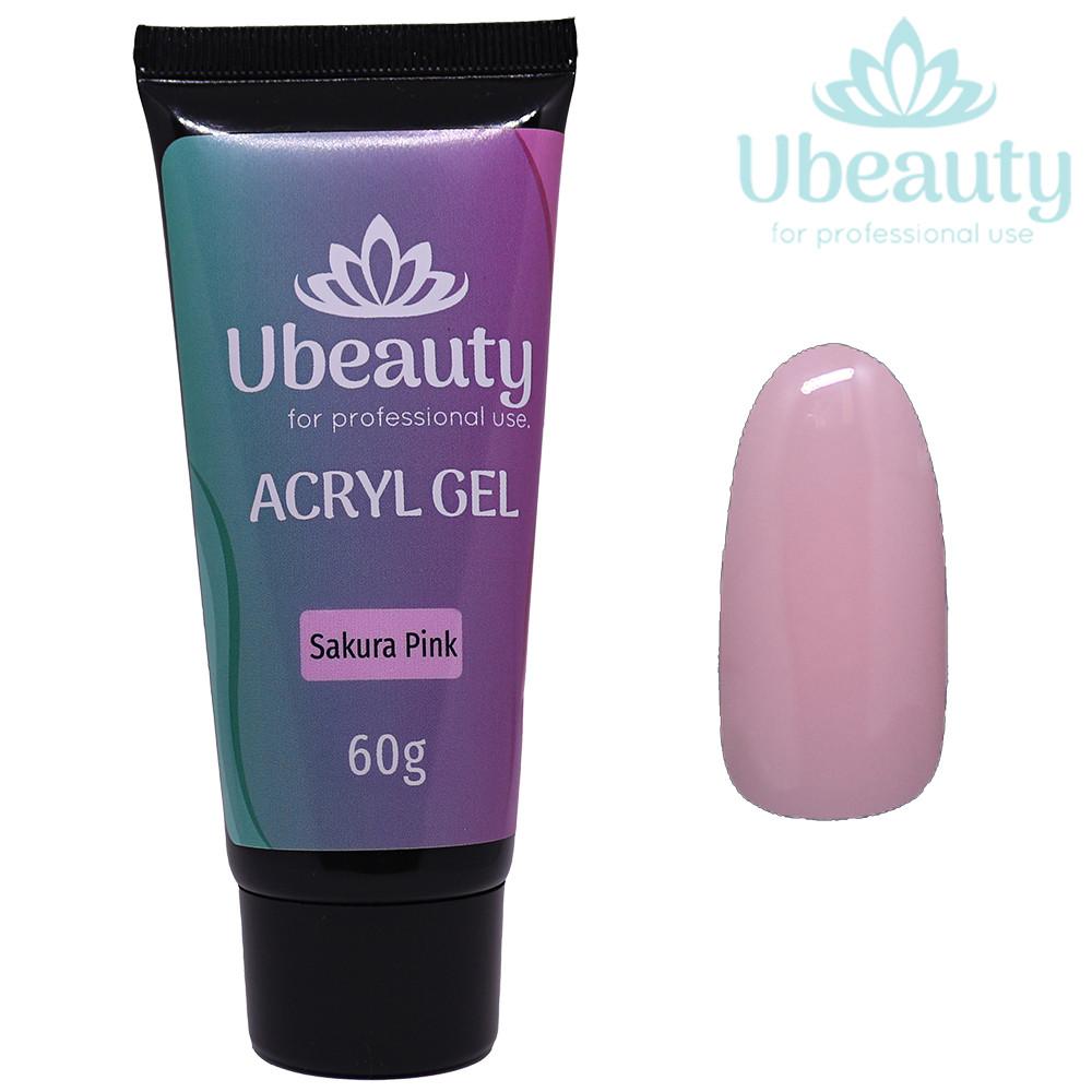 Акрилгель Ubeauty Sakura Pink / Розовый, Тюбик 60 мл (полигель, мультигель, комбигель)