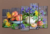 """Модульная картина """"Персики с цветами"""""""