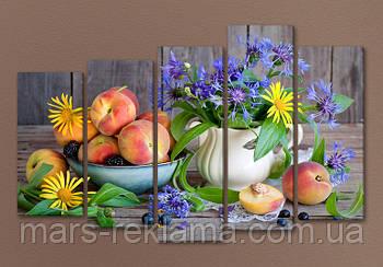 Модульная картина «Персики с цветами», натюрморт