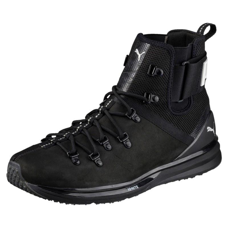 Ботинки мужские Puma IGNITE Limitless Boot Leather 190563 01 (черные, осень/зима, кожаные, логотип пума)