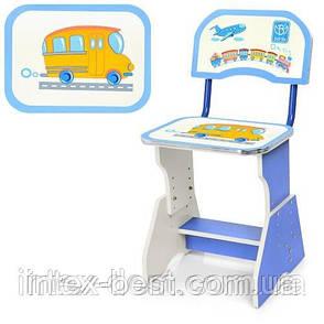 Детская регулируемая парта Bambi HB-2071(2)-01-7 со стульчиком (голубая), фото 2