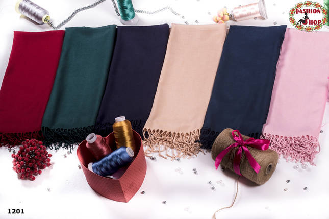Стильный чёрный шарф из пашмины, фото 2
