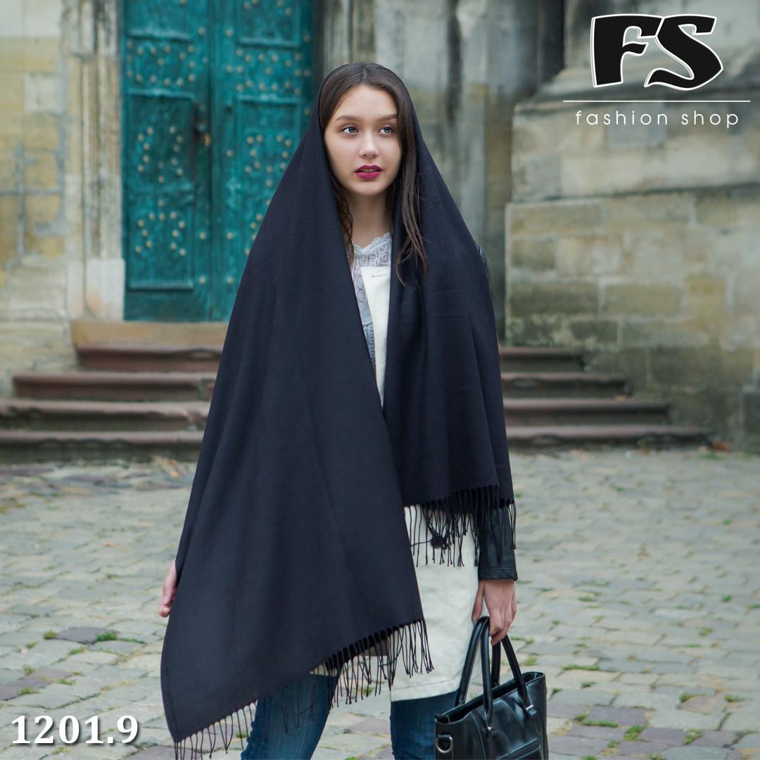 Стильный чёрный шарф из пашмины