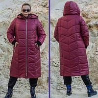 Зимнее пальто из плащевки для пышных женщин, с 42 по 82 размер, фото 1