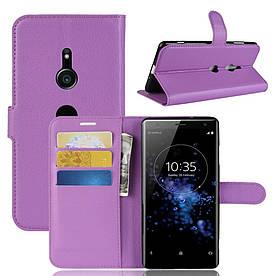 Чехол книжка для Sony Xperia XZ3 боковой с отсеком для визиток, фиолетовый