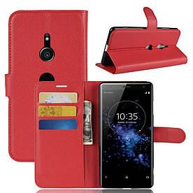 Чехол книжка для Sony Xperia XZ3 боковой с отсеком для визиток, красный