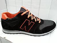 Мужские кожаные кроссовки больших размеров 46,47,48,49 NB Big Boss black, фото 1