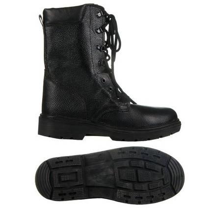 Берцы (ботинки с высокими берцами) юфтевые СМ Зима Мех ПУ литая подошва черные, фото 2