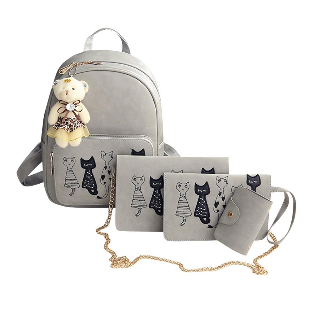 Комплект Рюкзак+Сумка+Клатч+Калтхолдер+Брелок Мишка. Два цвета. Пять котов.