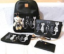 Комплект Рюкзак+Сумка+Клатч+Калтхолдер+Брелок Мишка. Два цвета. Пять котов., фото 3