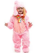 Детский красивый костюм Розового зайчика (комбинезон, шапочка, тапочки ) искусственный мех
