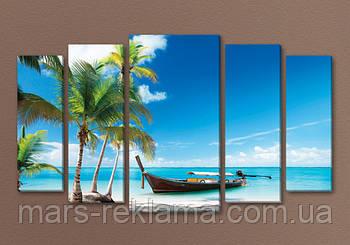 Модульная картина «Море пальмы лодка. Тайланд»