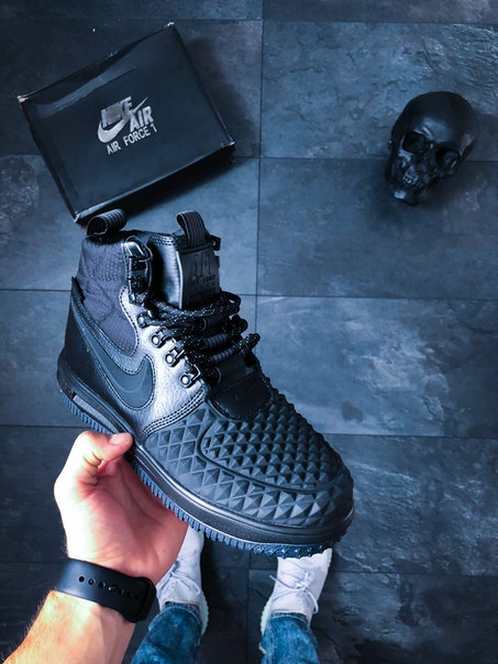 9f836e6f Мужские черные кроссовки Nike Lunar Force 1 Duckboot '17 Black/ Black -Anthracite