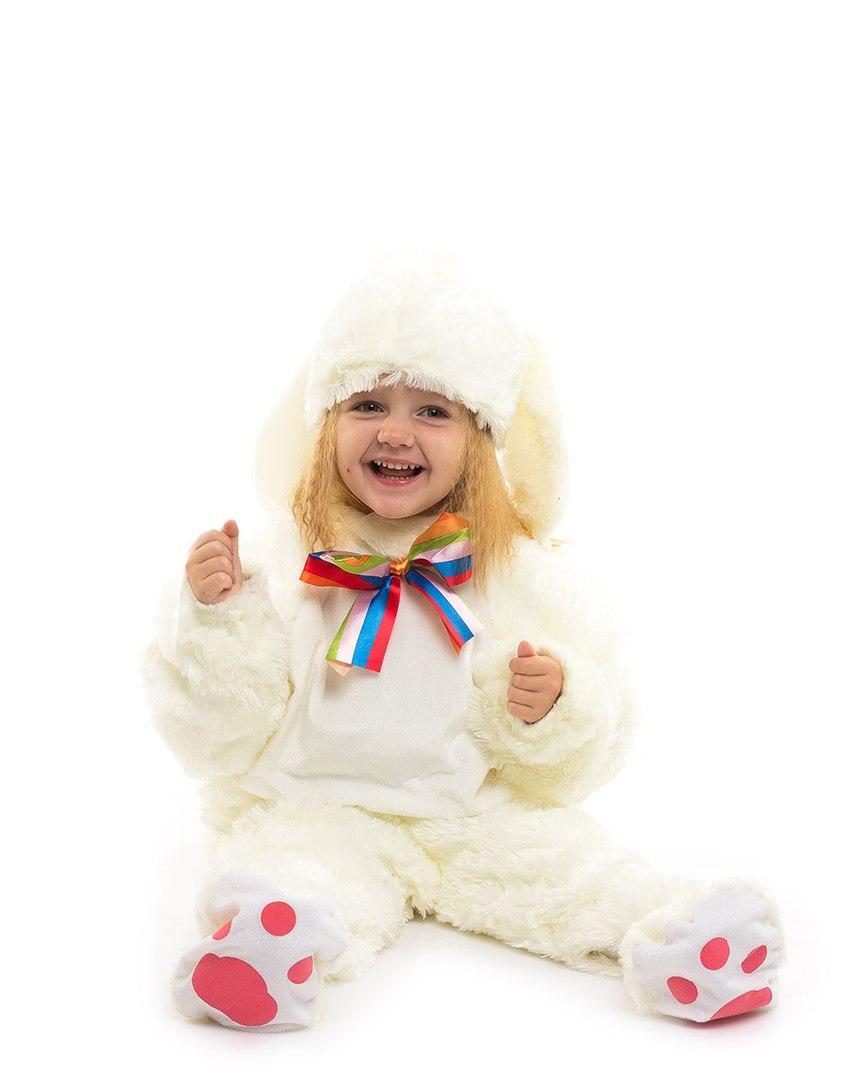 Детский красивый костюм Молочного зайчика (комбинезон, шапочка, тапочки ) искусственный мех