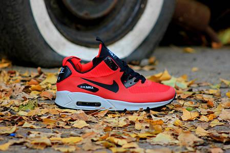 """Зимние кроссовки Nike Air Max 90 Mid """"Red"""" (Красные), фото 2"""