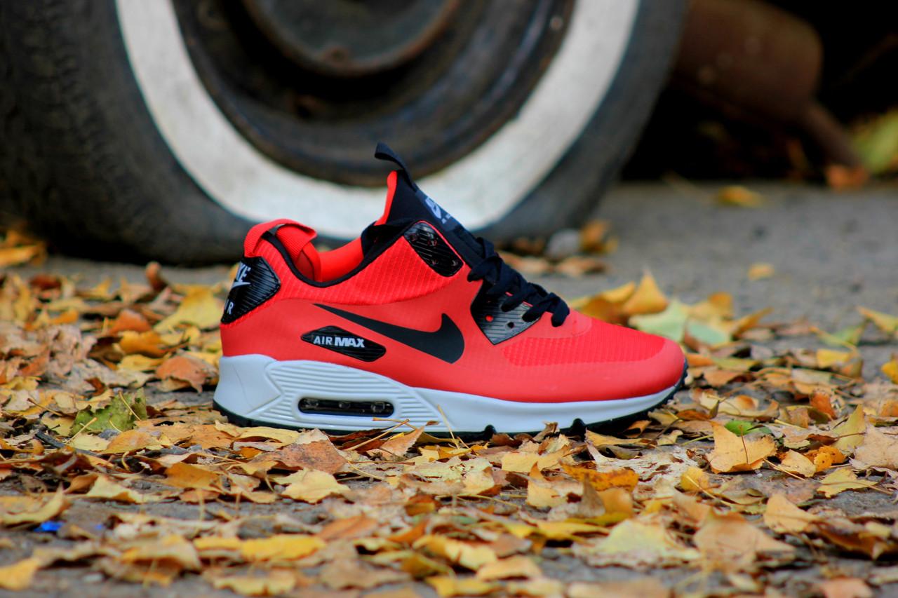 """Зимние кроссовки Nike Air Max 90 Mid """"Red"""" (Красные)"""